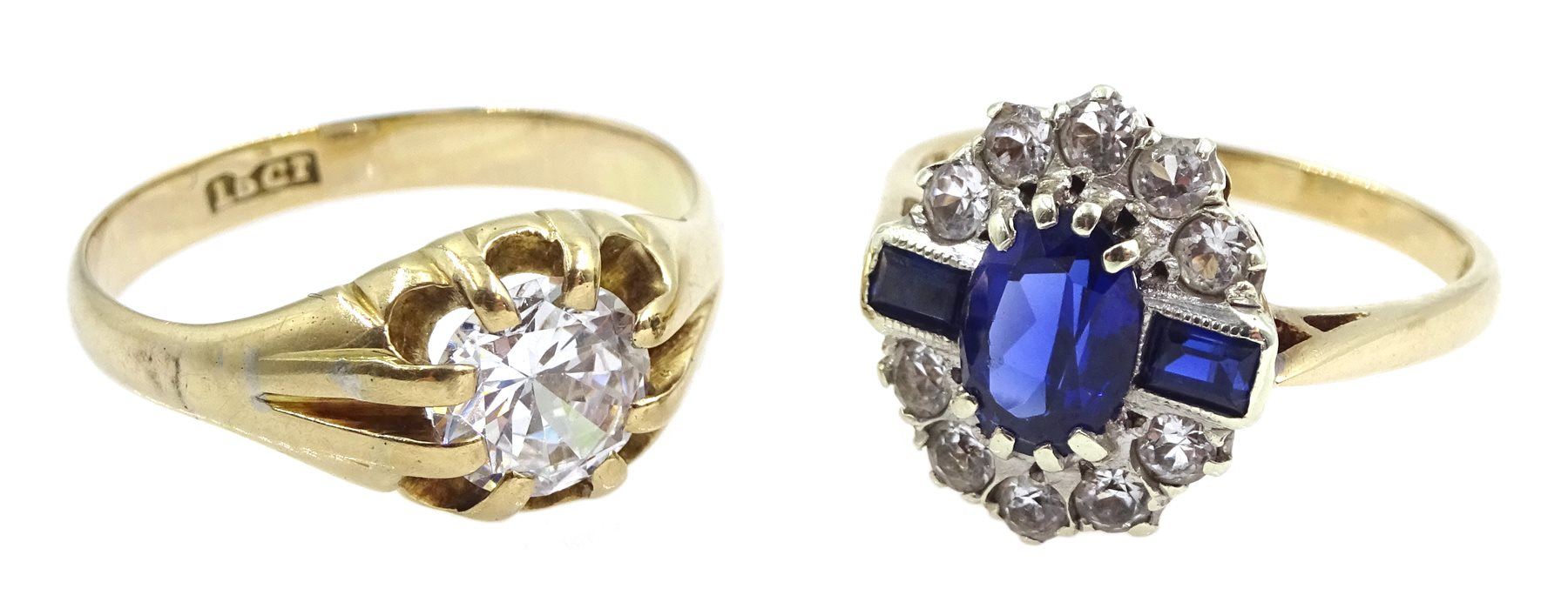 9ct gold cubic zirconia and synthetic sapphire dress ring stamped and a 13ct gold gentleman's single