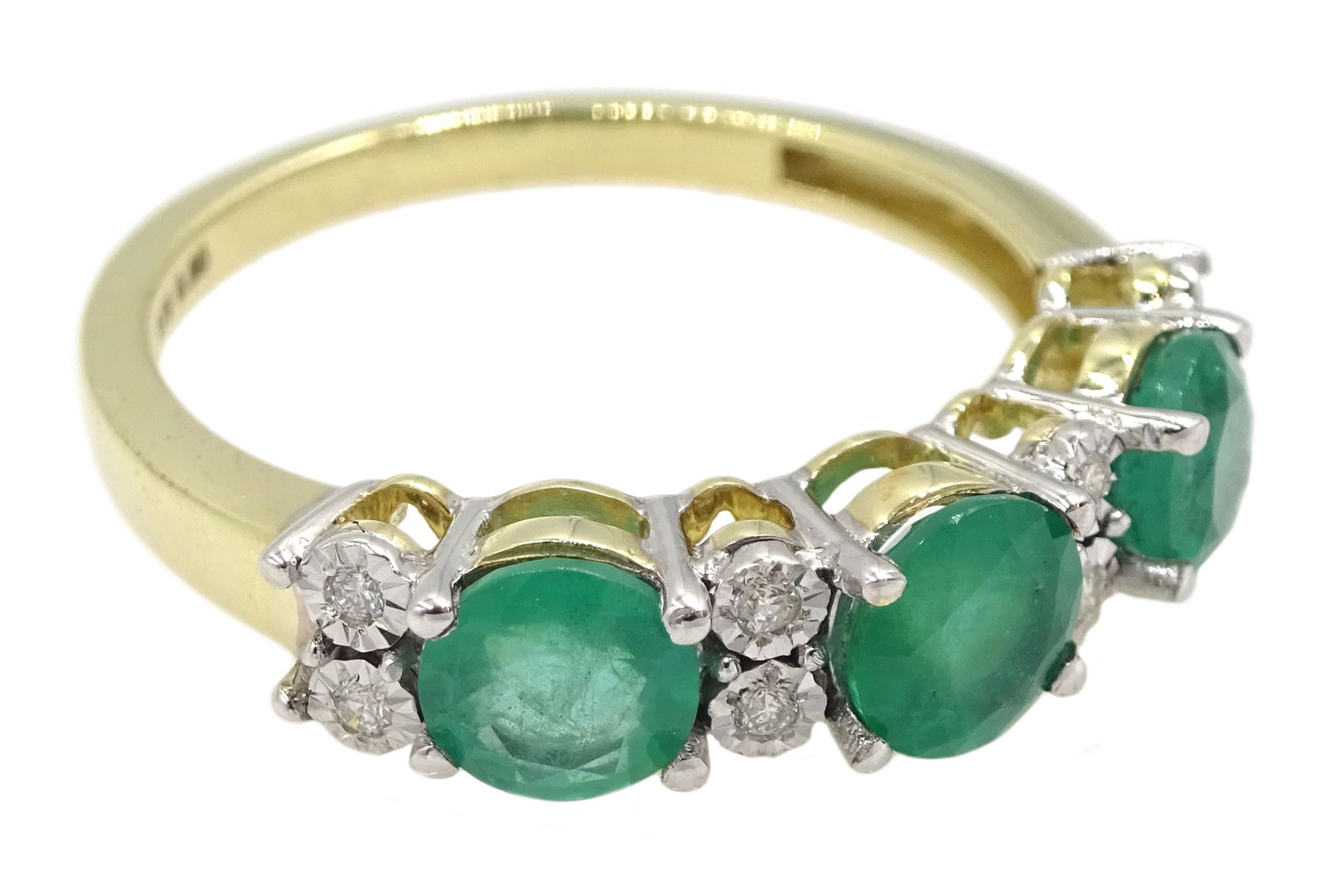 9ct gold round emerald and diamond ring, stamped 375, total emerald weight approx 1.30 carat - Image 3 of 4