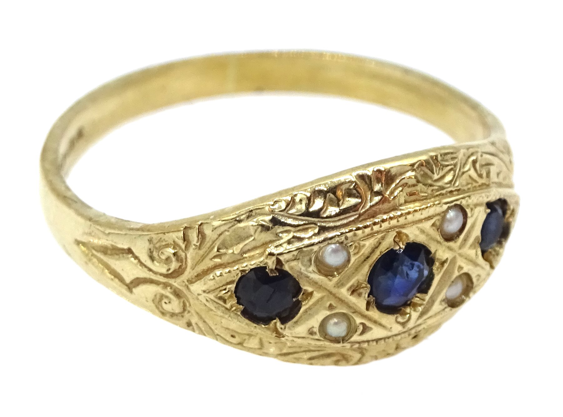 9ct gold sapphire and pearl ring, hallmarked - Image 2 of 3