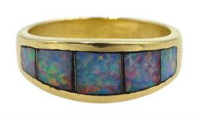 18ct gold opal ring rubbover set, stamped 750
