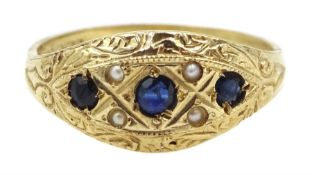 9ct gold sapphire and pearl ring, hallmarked