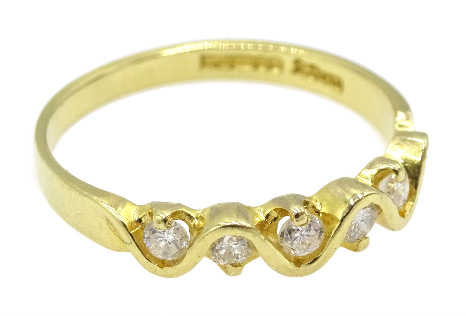 18ct gold seven stone diamond, weave design ring, London import marks 1994, total diamond weight 0.2 - Image 3 of 4