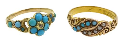 Victorian turquoise and diamond ring stamped 18ct and an Edwardian 15ct gold turquoise and spilt see