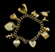9ct gold curb chain bracelet, with heart locket clasp hallmarked and nine gold charms including duck