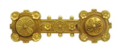 Victorian 19ct gold Etruscan design bar brooch, applied filigree decoration