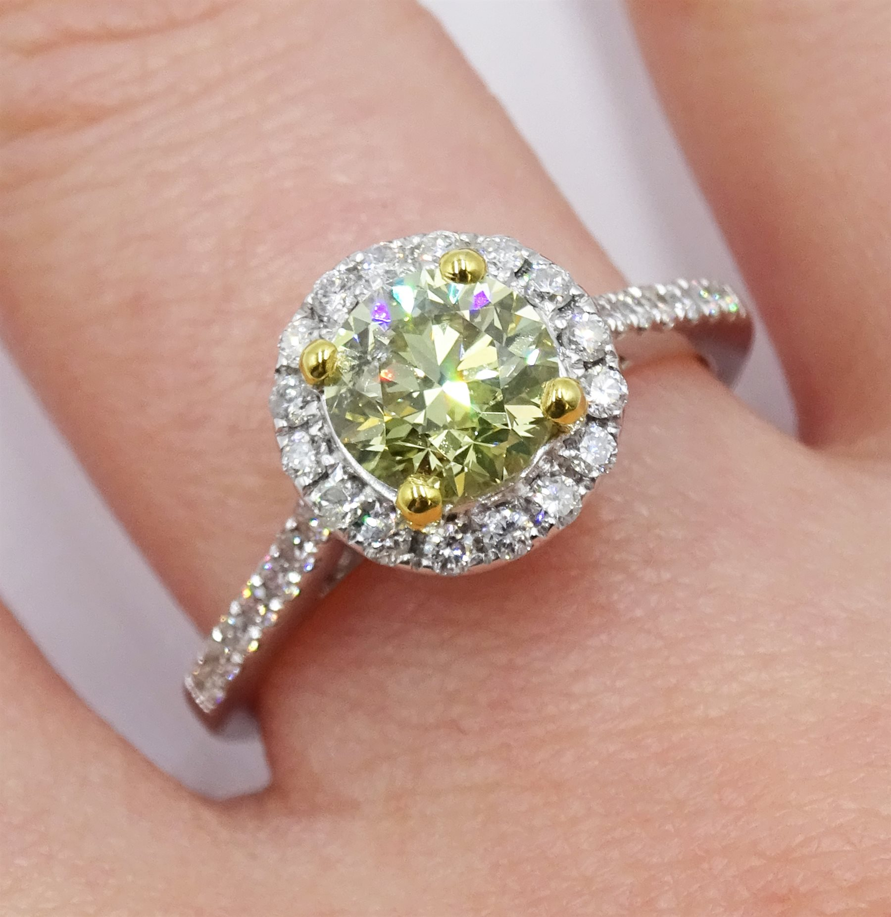 18ct white gold diamond halo ring, the central round brilliant cut fancy yellow diamond of 1.02 cara - Image 2 of 6