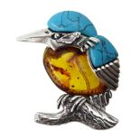 Silver Baltic amber and turquoise kingfisher brooch, stamped 925