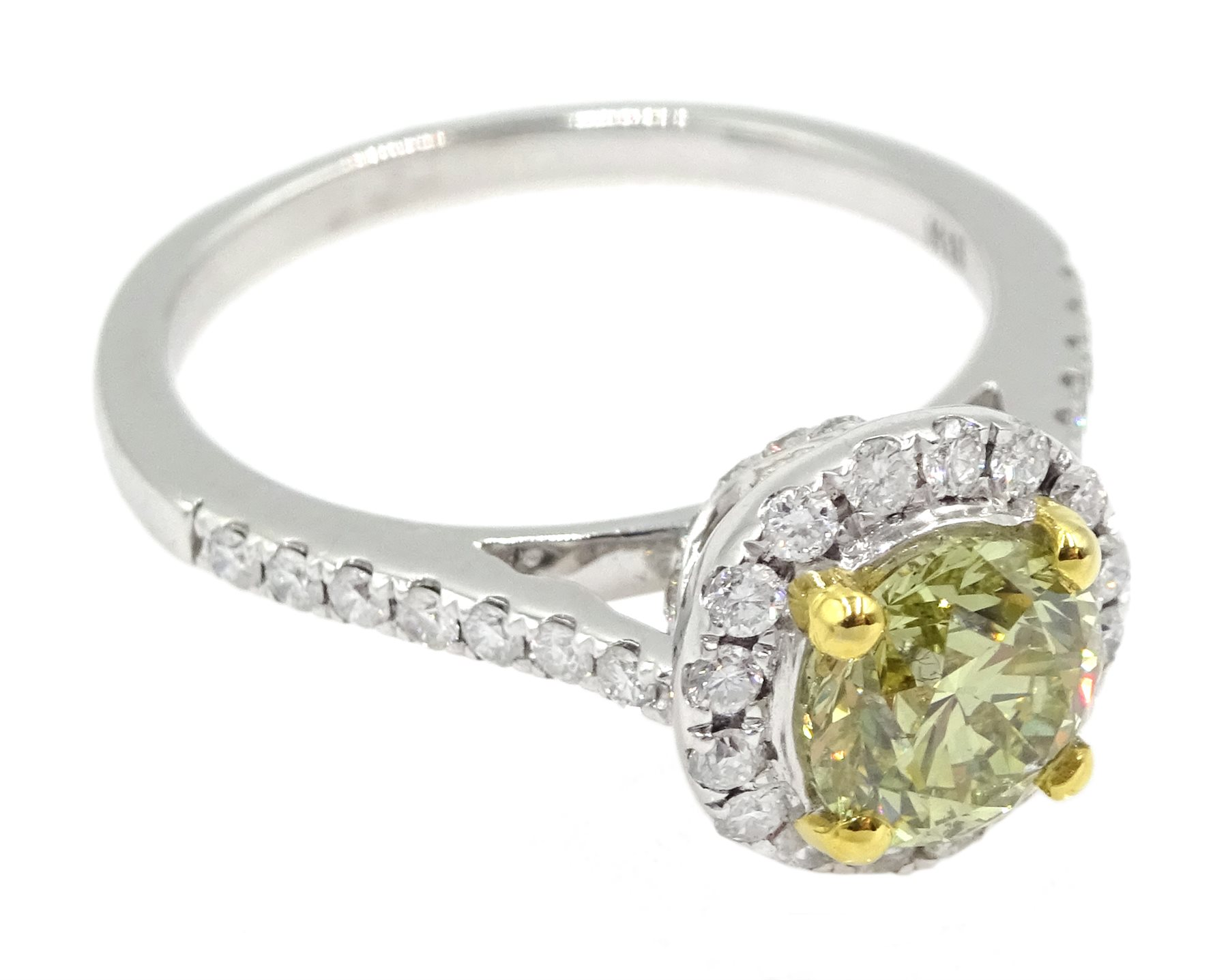 18ct white gold diamond halo ring, the central round brilliant cut fancy yellow diamond of 1.02 cara - Image 3 of 6