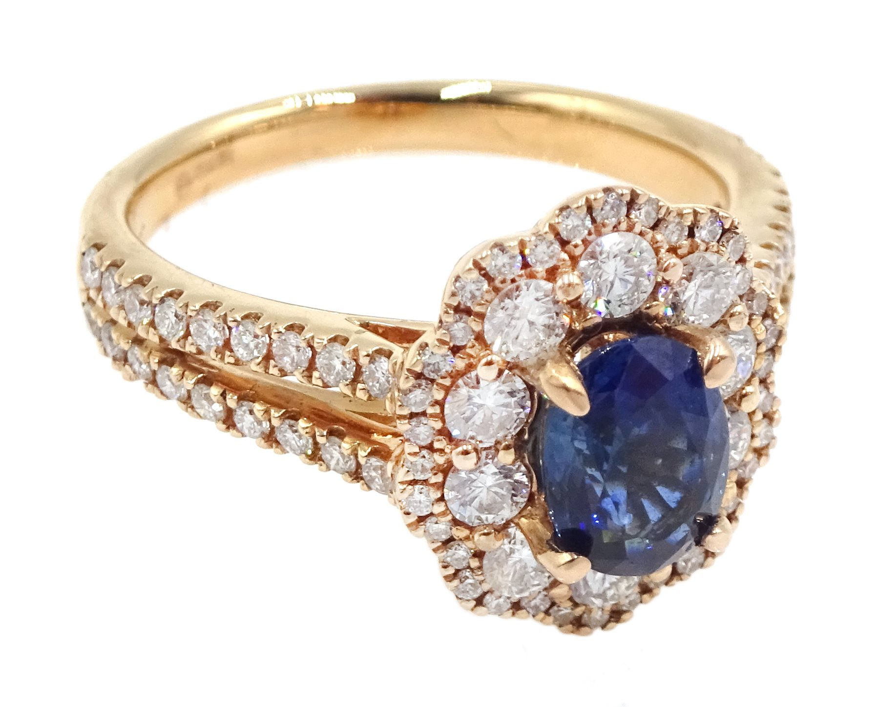 18ct rose gold oval sapphire and diamond cluster ring, with diamond set shoulders, hallmarked, sapph - Image 3 of 6