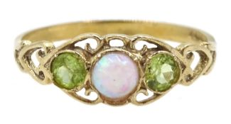 9ct gold three stone opal and peridot ring, hallmarked