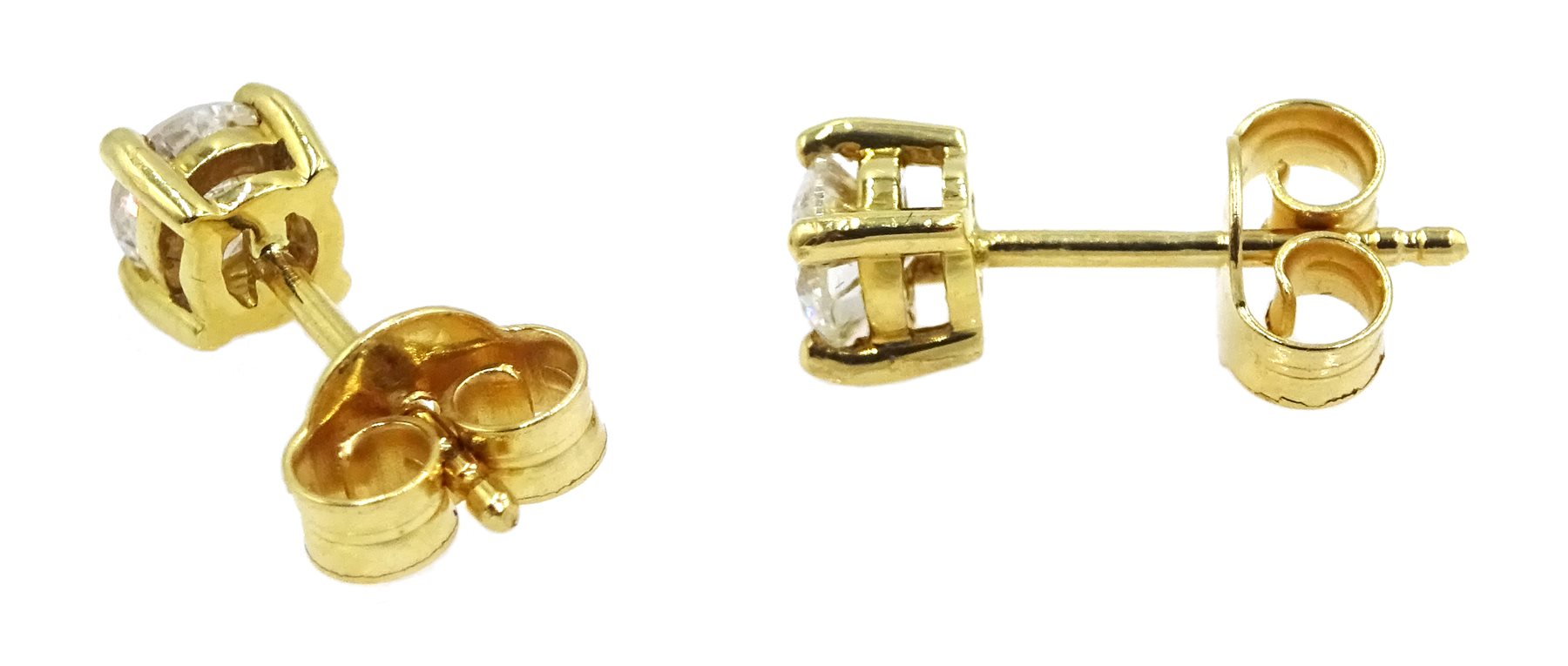 Pair of 18ct gold diamond stud earrings, stamped 750, total diamond weight 0.64 carat - Image 2 of 2
