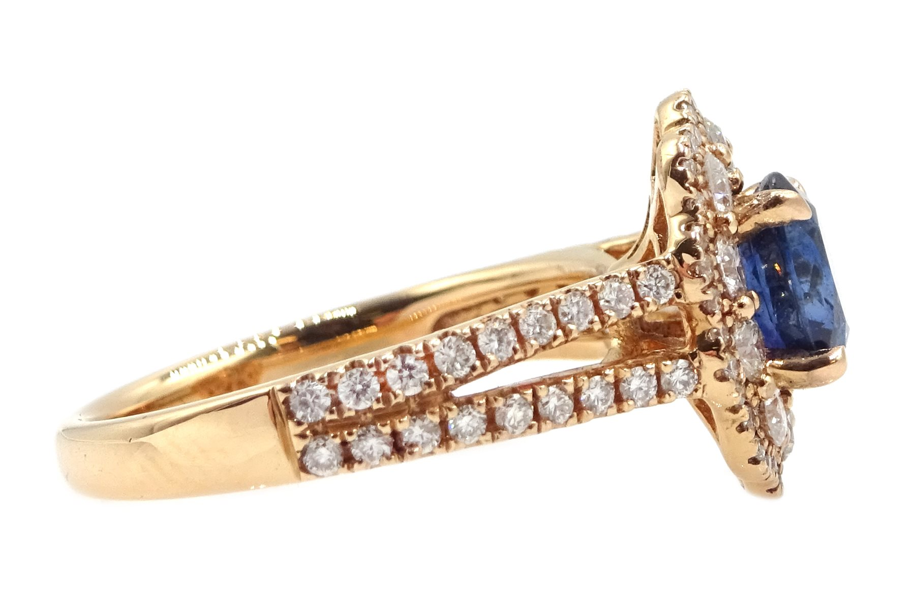 18ct rose gold oval sapphire and diamond cluster ring, with diamond set shoulders, hallmarked, sapph - Image 4 of 6