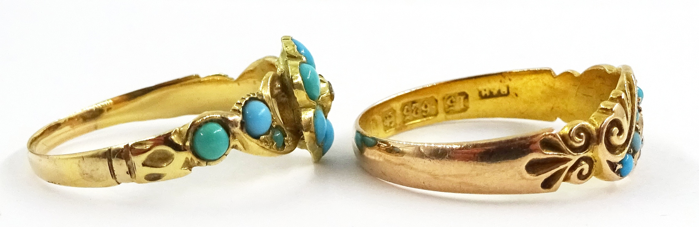 Victorian turquoise and diamond ring stamped 18ct and an Edwardian 15ct gold turquoise and spilt see - Image 3 of 5
