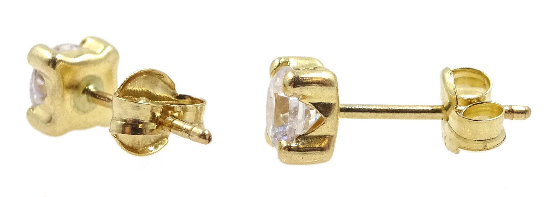 Pair of 9ct gold cubic zirconia stud earrings, stamped 375 - Image 2 of 2