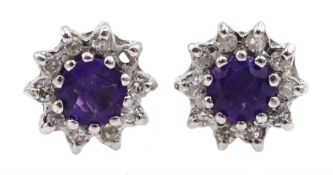 Pair of 9ct gold amethyst and diamond cluster stud earrings