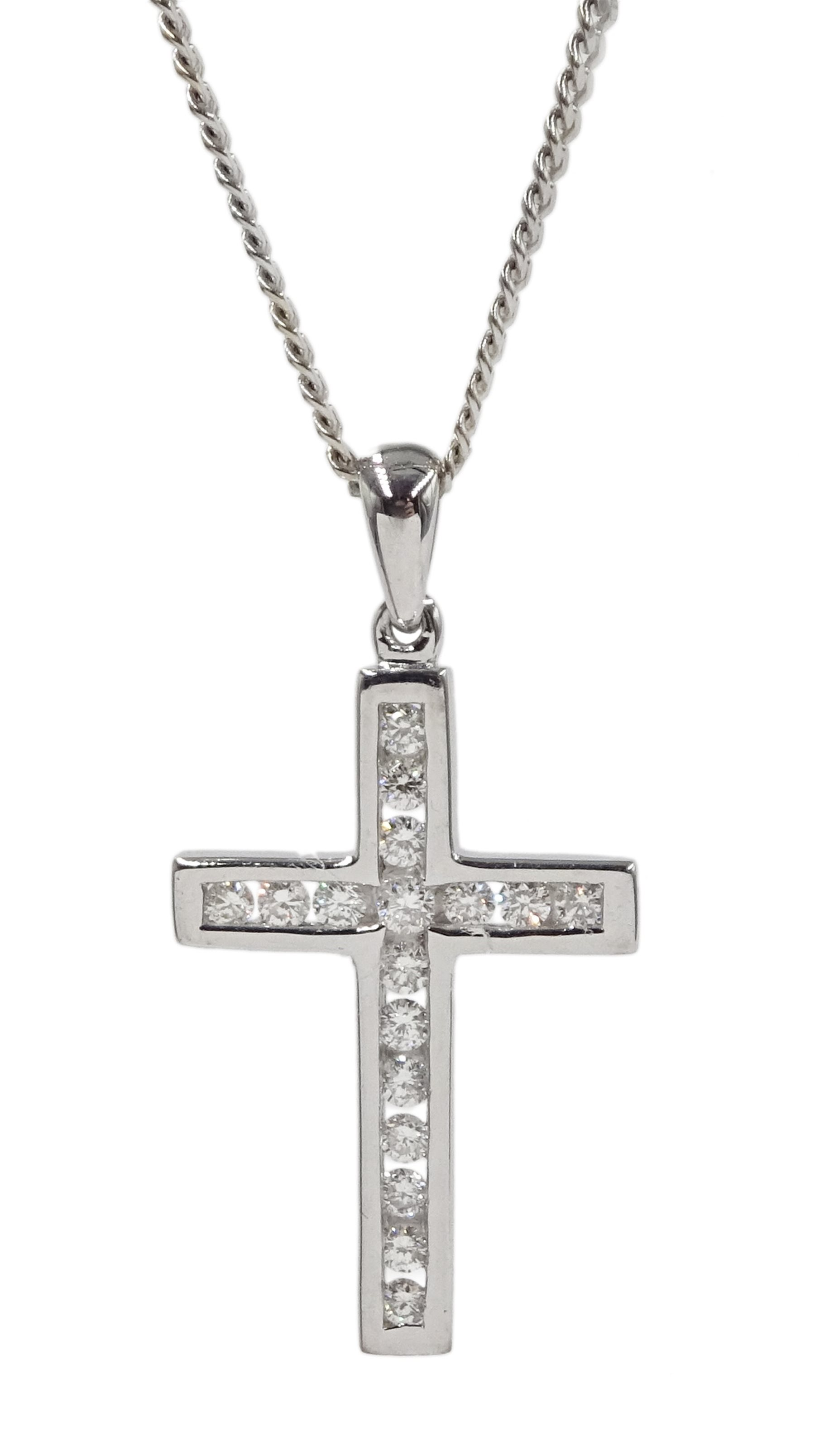 18ct white gold round brilliant cut diamond cross pendant necklace, hallmarked
