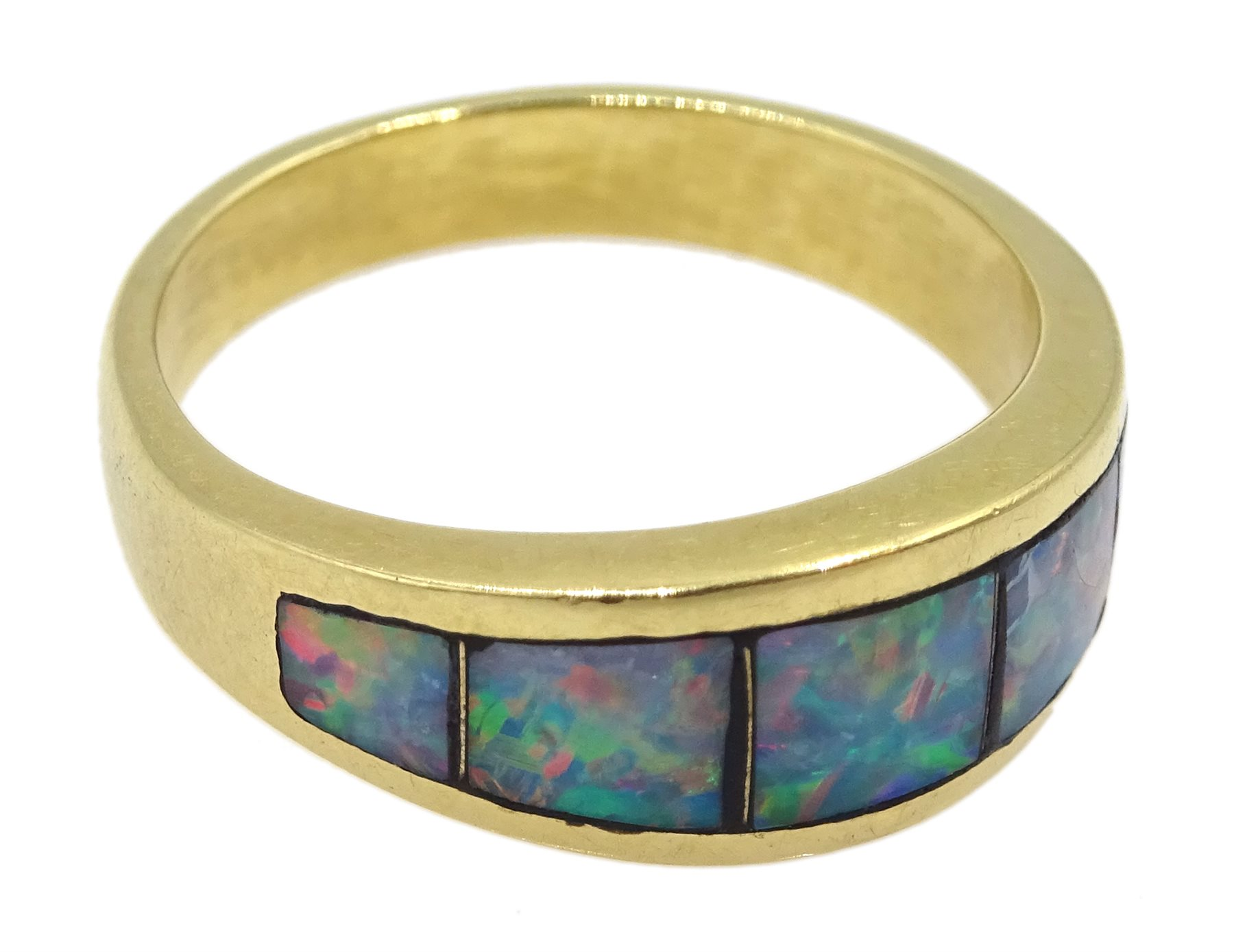 18ct gold opal ring rubbover set, stamped 750 - Image 2 of 4