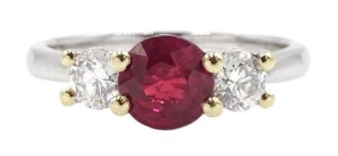 18ct white gold three stone ruby and diamond ring, hallmarked, ruby approx 0.95 carat