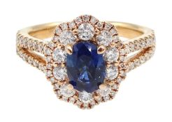 18ct rose gold oval sapphire and diamond cluster ring, with diamond set shoulders, hallmarked, sapph