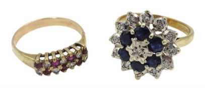 Gold two row diamond and ruby ring and a gold sapphire and diamond cluster ring, both 9ct tested or