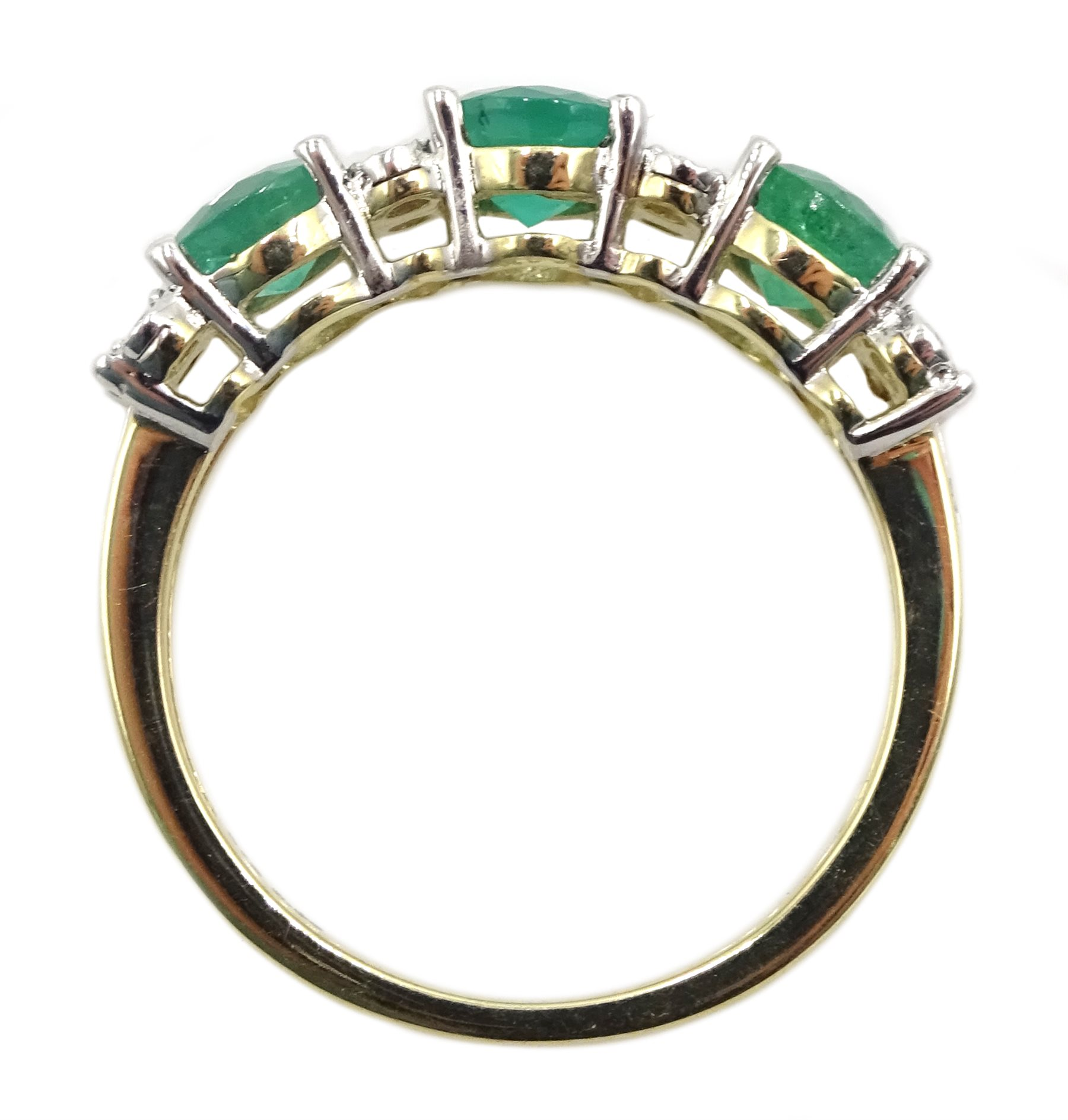 9ct gold round emerald and diamond ring, stamped 375, total emerald weight approx 1.30 carat - Image 4 of 4