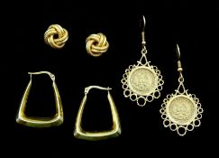 Three pairs of 9ct gold earrings, all stamped, one pair set with Esdados Unidos Mexicano coins