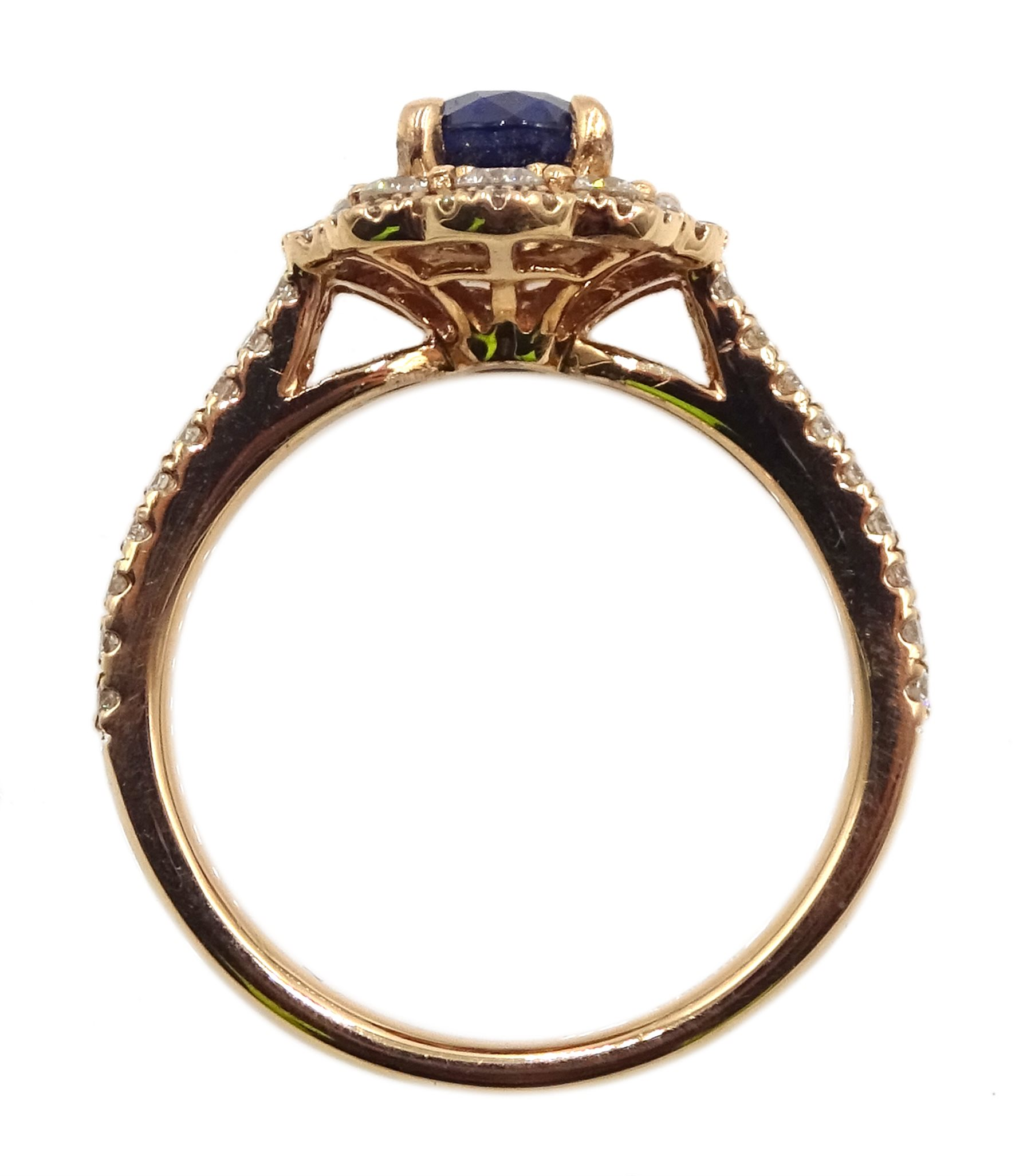 18ct rose gold oval sapphire and diamond cluster ring, with diamond set shoulders, hallmarked, sapph - Image 5 of 6