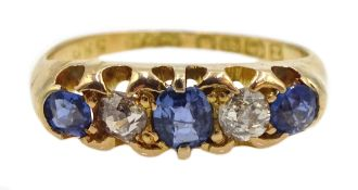 Victorian 18ct gold five stone sapphire and diamond ring, Birmingham 1899