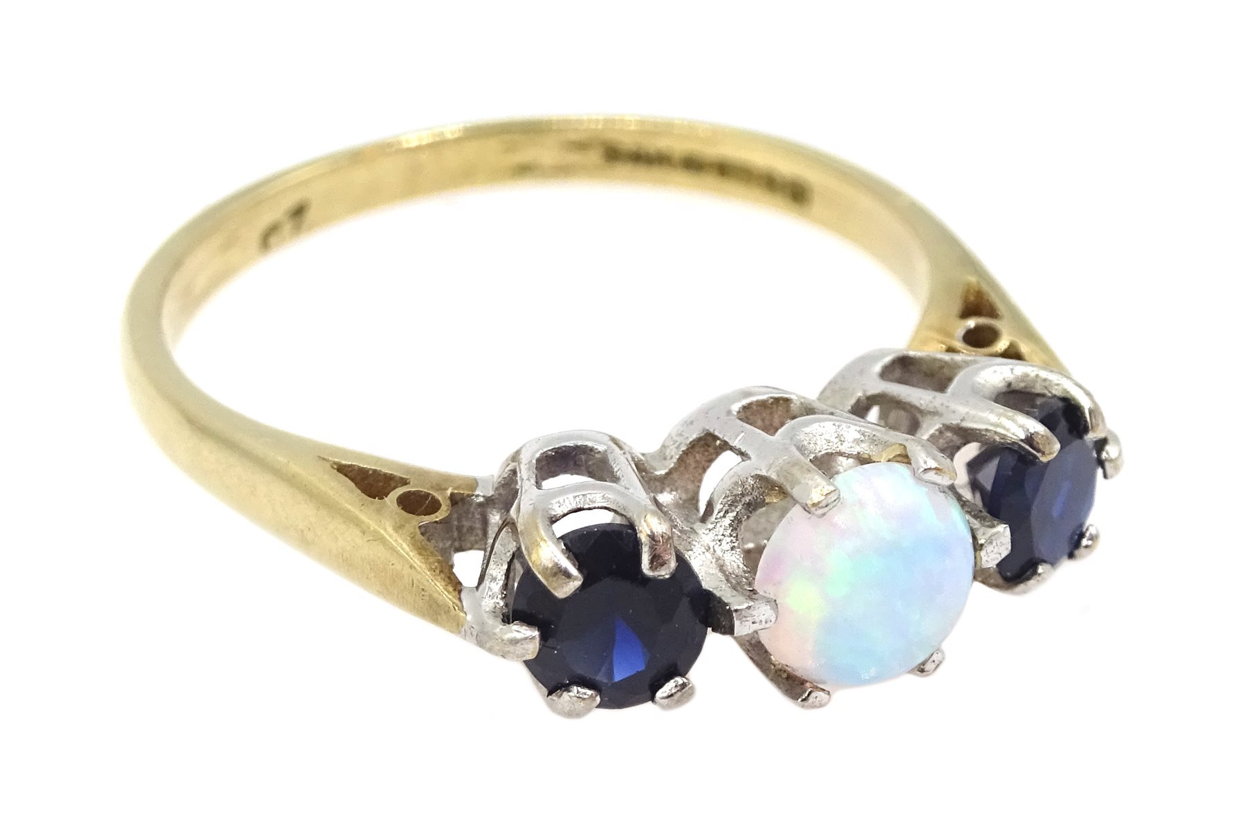 9ct gold three stone opal and sapphire ring, hallmarked - Image 2 of 3