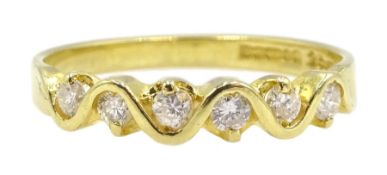 18ct gold seven stone diamond, weave design ring, London import marks 1994, total diamond weight 0.2
