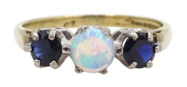 9ct gold three stone opal and sapphire ring, hallmarked