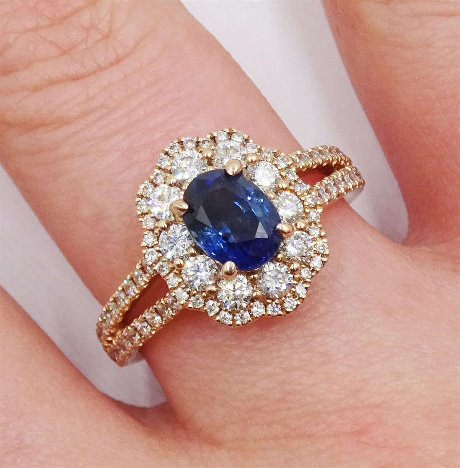 18ct rose gold oval sapphire and diamond cluster ring, with diamond set shoulders, hallmarked, sapph - Image 2 of 6