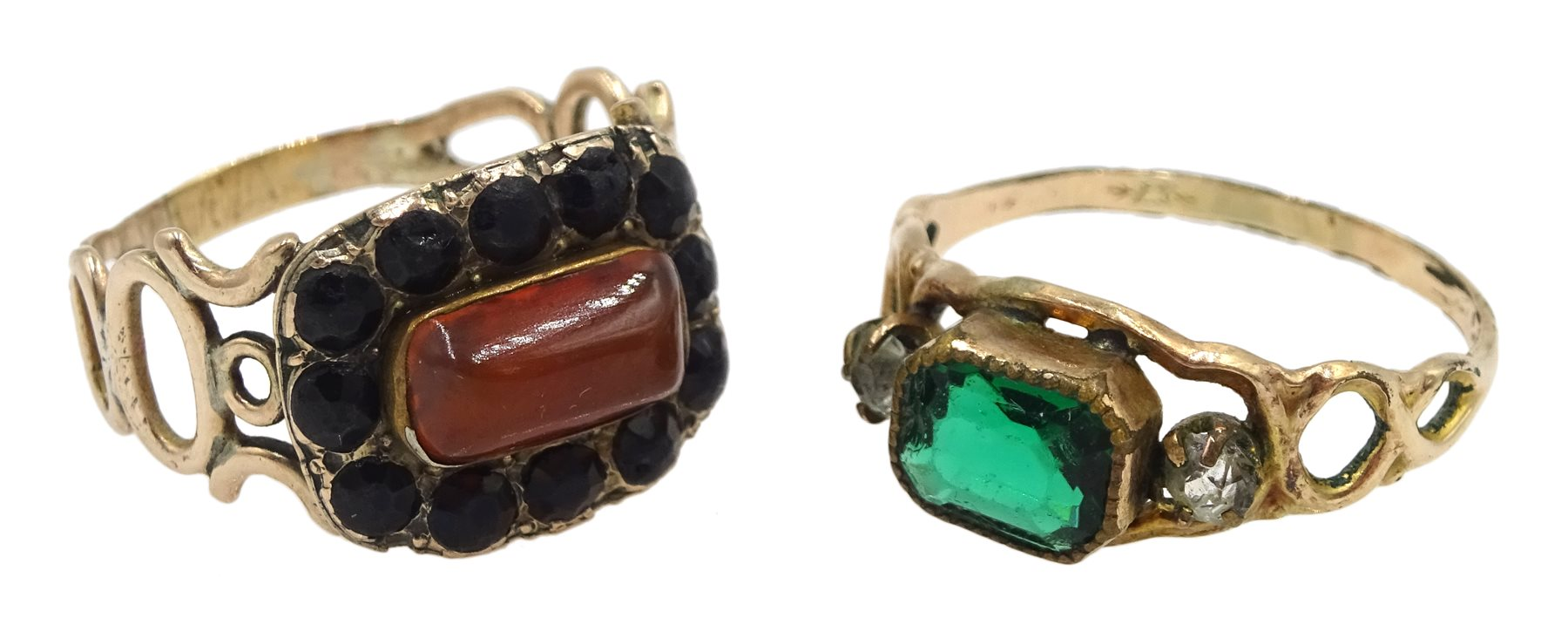 Georgian gold carnelian ring, with Vauxhall glass bead surround and a similar green and clear paste