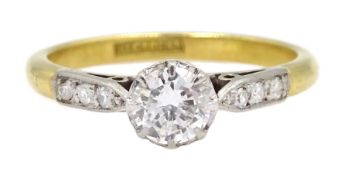 18ct gold single stone diamond ring, with diamond set shoulders, stamped 18 Plat, diamond approx 0.3
