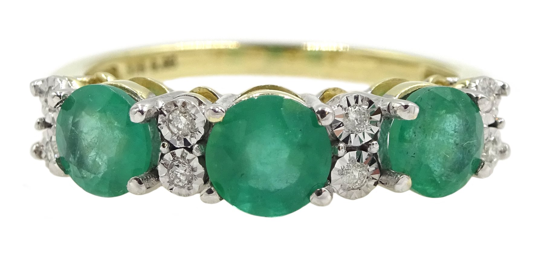 9ct gold round emerald and diamond ring, stamped 375, total emerald weight approx 1.30 carat