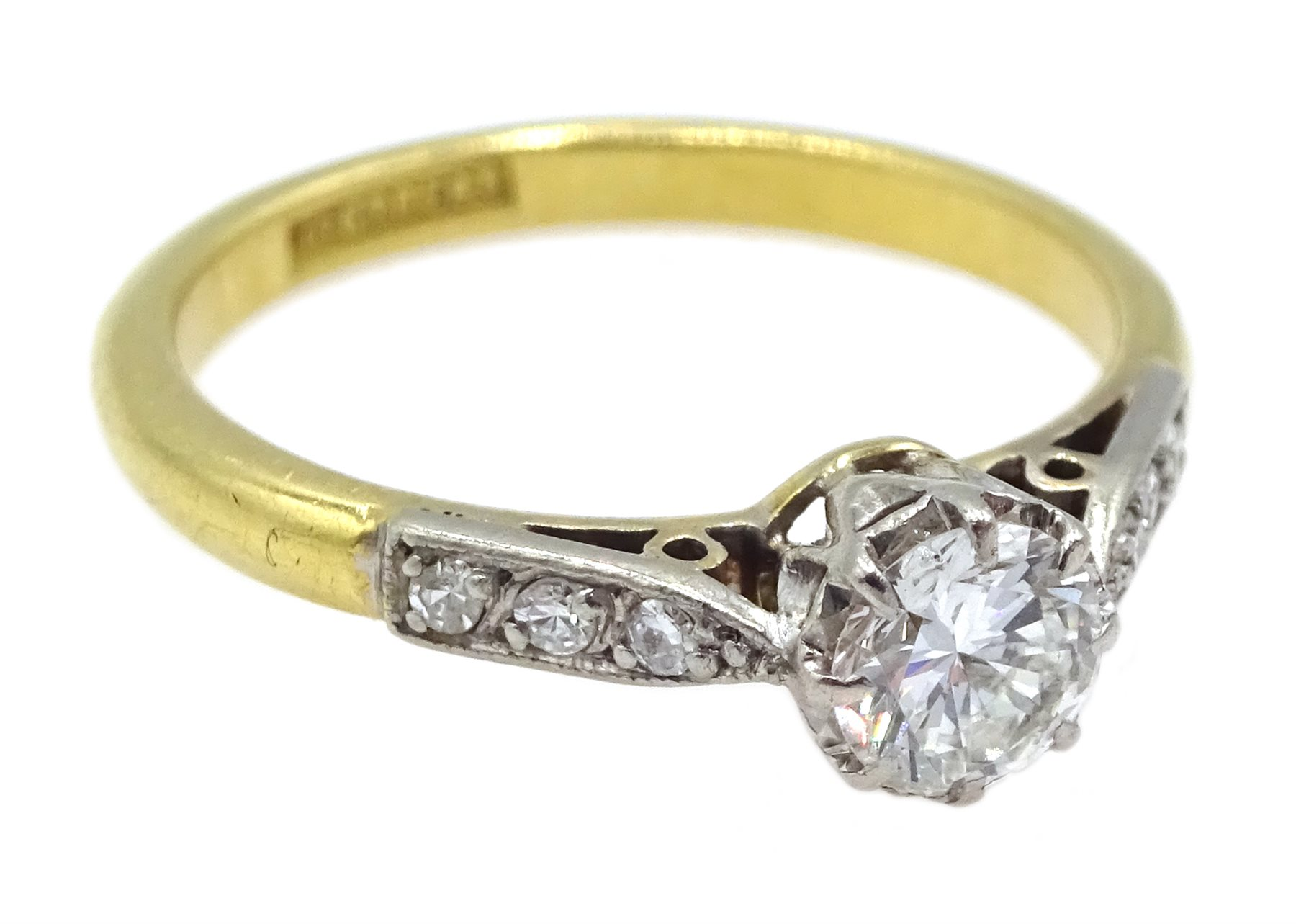 18ct gold single stone diamond ring, with diamond set shoulders, stamped 18 Plat, diamond approx 0.3 - Image 3 of 4