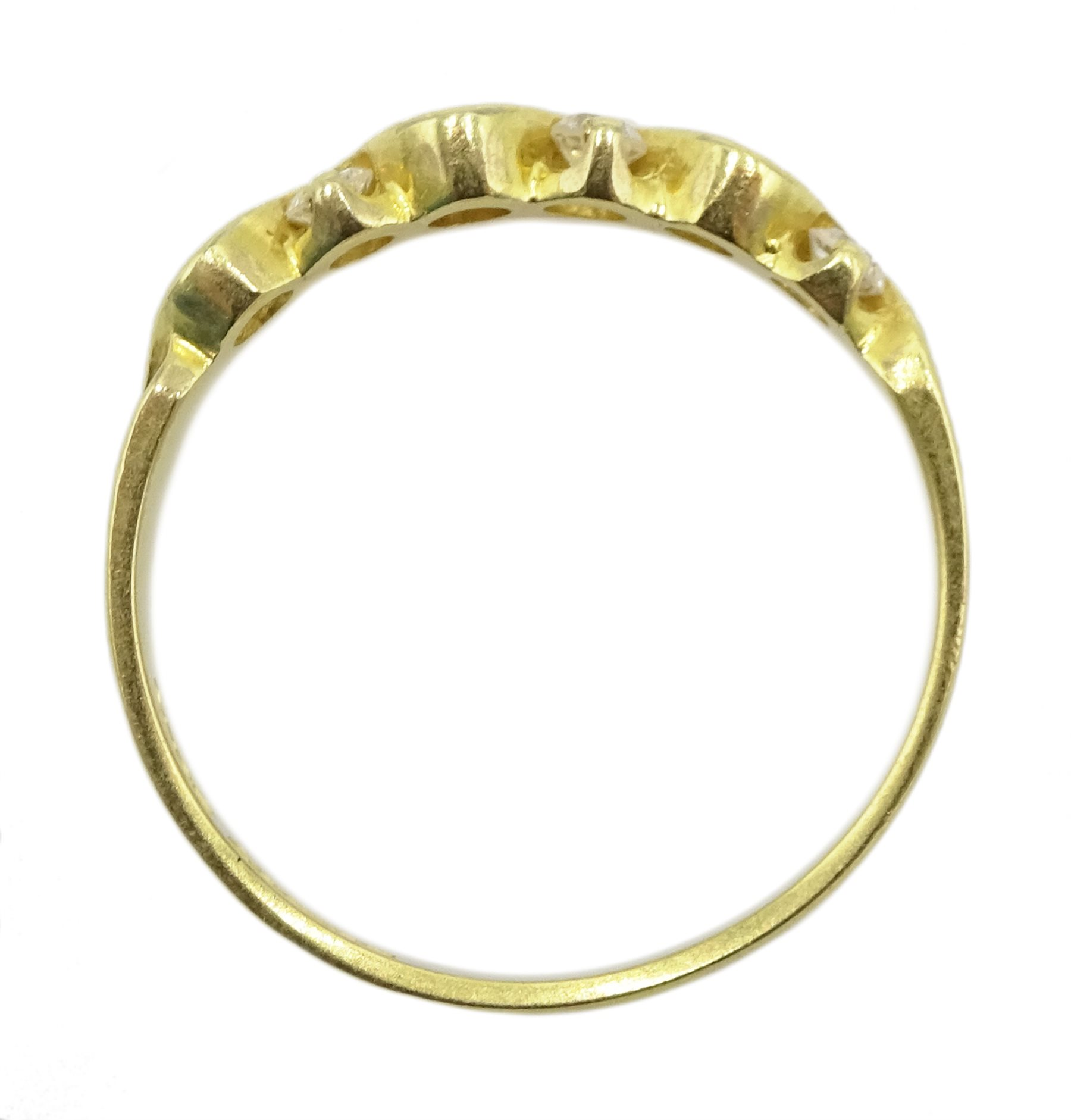 18ct gold seven stone diamond, weave design ring, London import marks 1994, total diamond weight 0.2 - Image 4 of 4