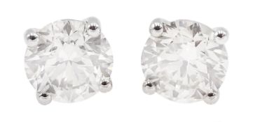 Pair of 18ct white gold round brilliant cut diamond stud earrings, stamped 750, total diamond weight