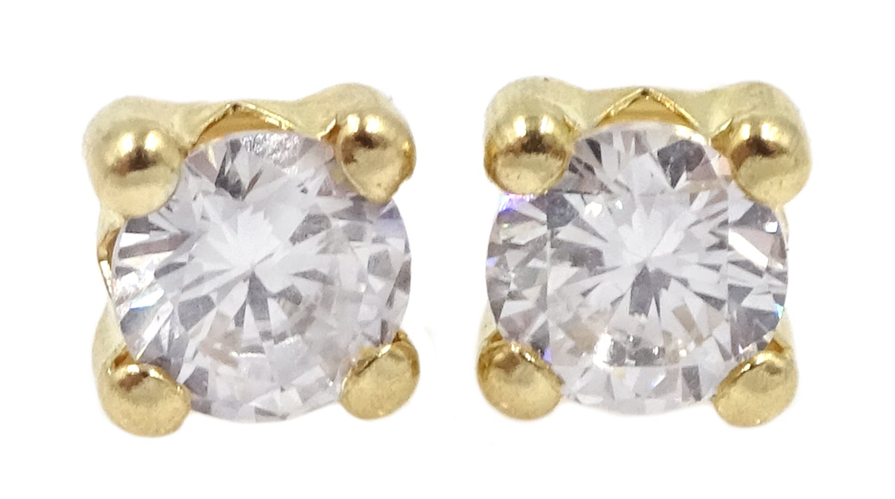 Pair of 9ct gold cubic zirconia stud earrings, stamped 375