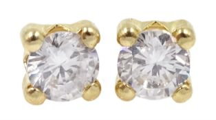 Pair of 9ct gold cubic zirconia stud earrings, stamped 375