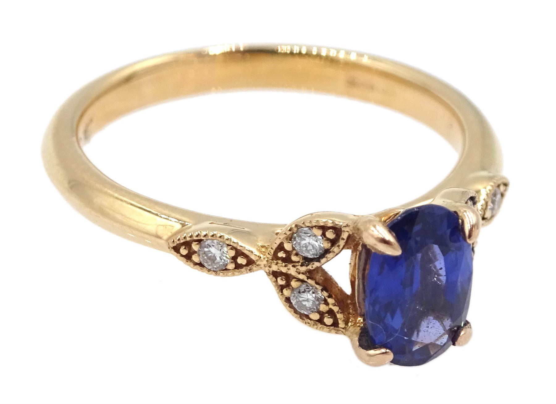 18ct gold oval sapphire ring, with diamond set shoulders, hallmarked, sapphire approx 0.80 carat - Image 3 of 5