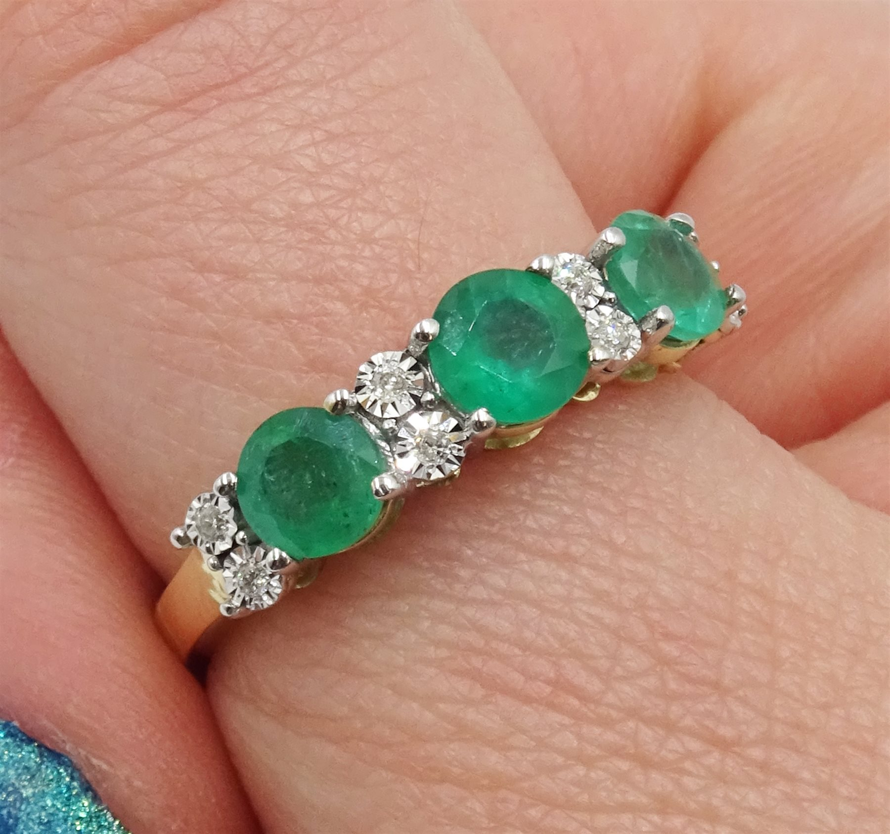 9ct gold round emerald and diamond ring, stamped 375, total emerald weight approx 1.30 carat - Image 2 of 4