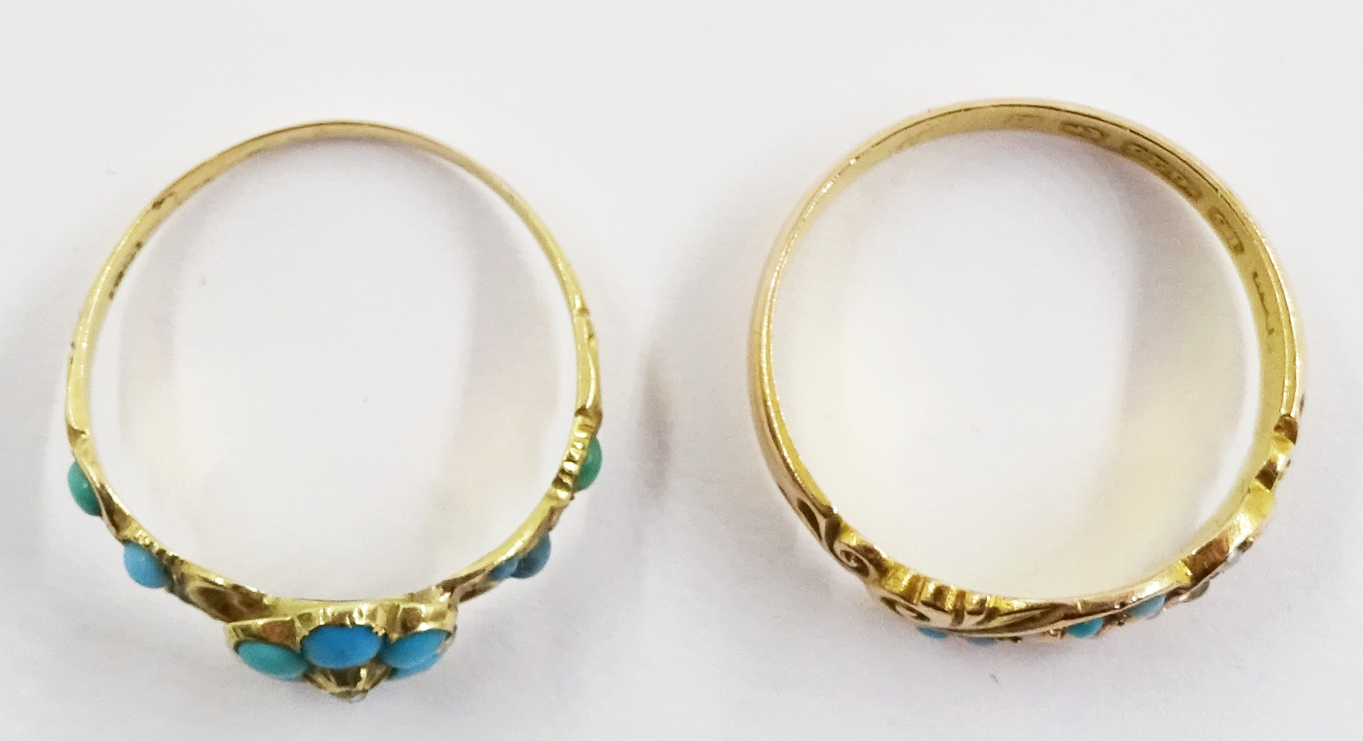 Victorian turquoise and diamond ring stamped 18ct and an Edwardian 15ct gold turquoise and spilt see - Image 4 of 5