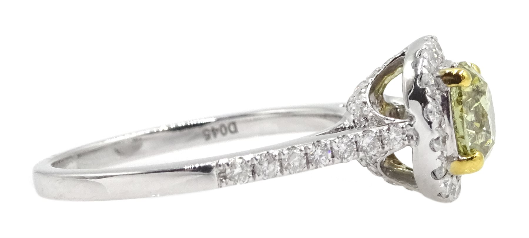 18ct white gold diamond halo ring, the central round brilliant cut fancy yellow diamond of 1.02 cara - Image 4 of 6