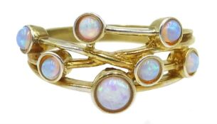 Silver-gilt multi opal stone set ring, stamped Sil