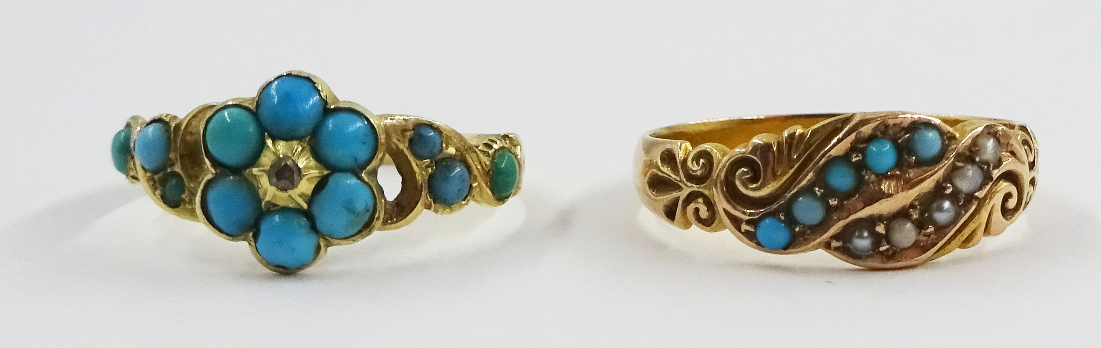 Victorian turquoise and diamond ring stamped 18ct and an Edwardian 15ct gold turquoise and spilt see - Image 5 of 5
