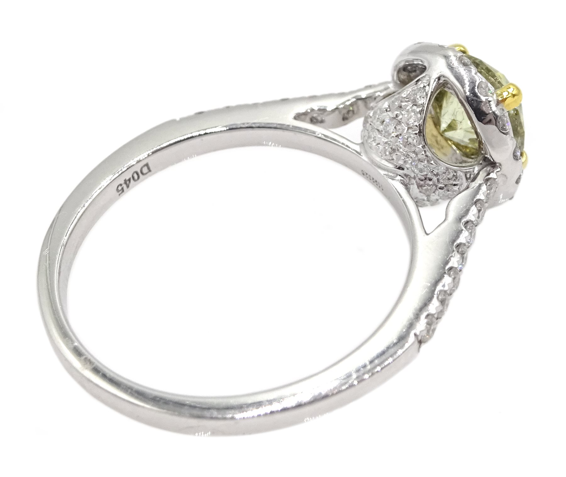 18ct white gold diamond halo ring, the central round brilliant cut fancy yellow diamond of 1.02 cara - Image 5 of 6