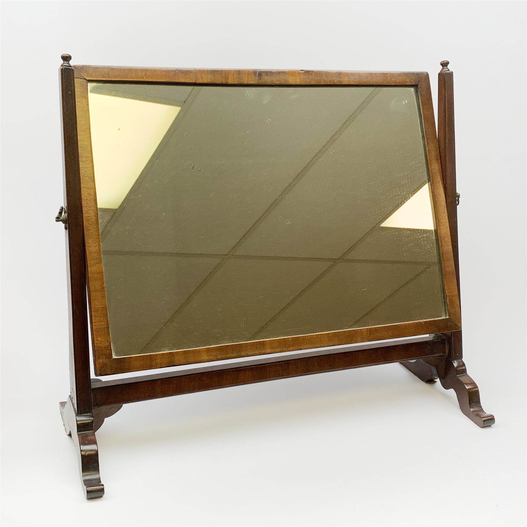 An Edwardian mahogany dressing table mirror, the oval mirror plate in swing frame, upon flared legs - Image 2 of 2