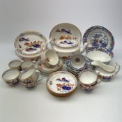 Early 19th century Spode Dolls House pattern tea wares, comprising teapot, twin handled sucrier and
