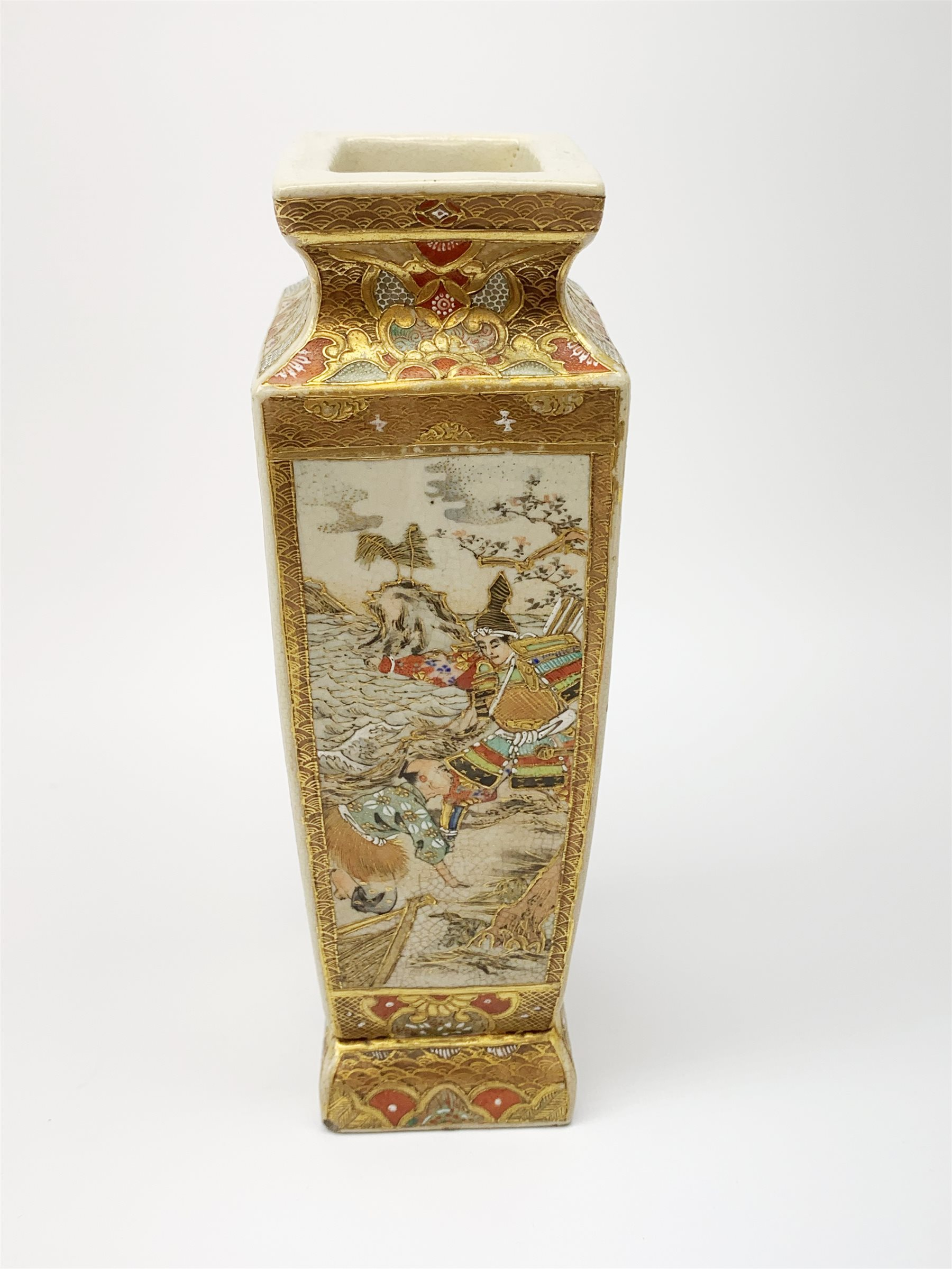 A late 19th century Japanese Satsuma vase, of slightly tapering square form, painted with figural pa - Image 5 of 7